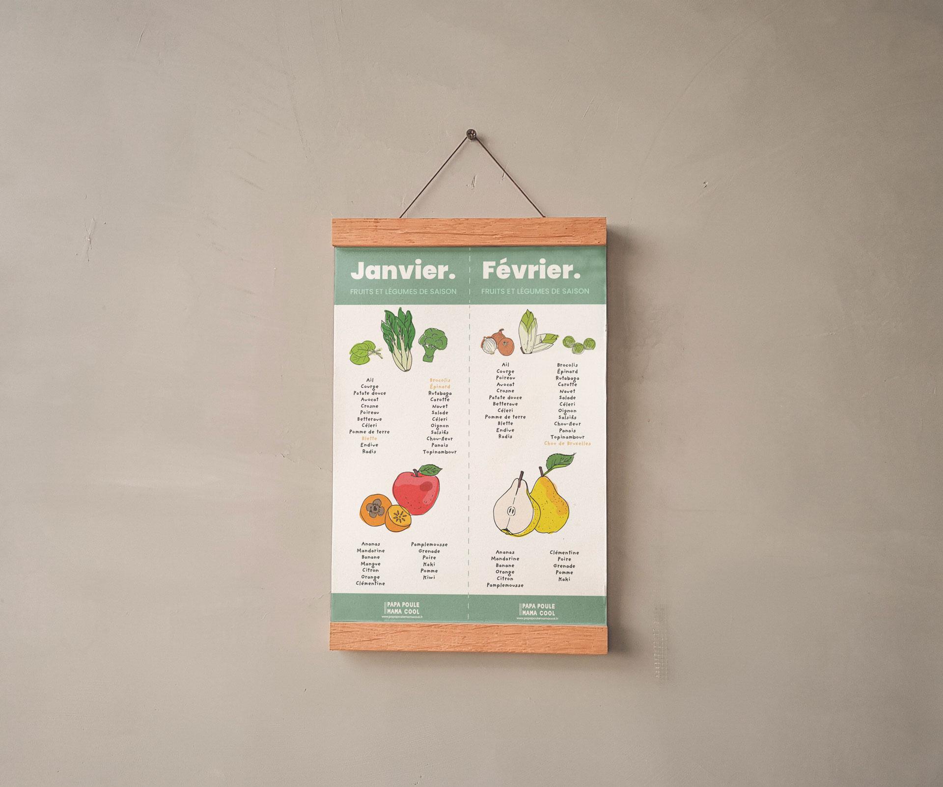 calendrier des fruits et légumes de saison / illustrations