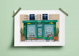 illustrations vitrine magasin, épicerie vrac